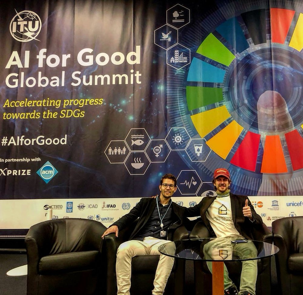 Ahmed Sabbabi, #HE's Communication Manager, & Andrew Funk, #HE's president gave #HomelessEntrepreneurs a voice at the AI for Good Global Summit: Geneva, Switzerland.