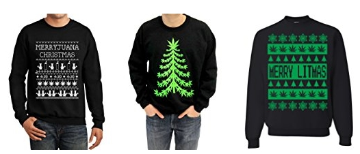check out these weed influenced ugly sweaters for your next christmas party