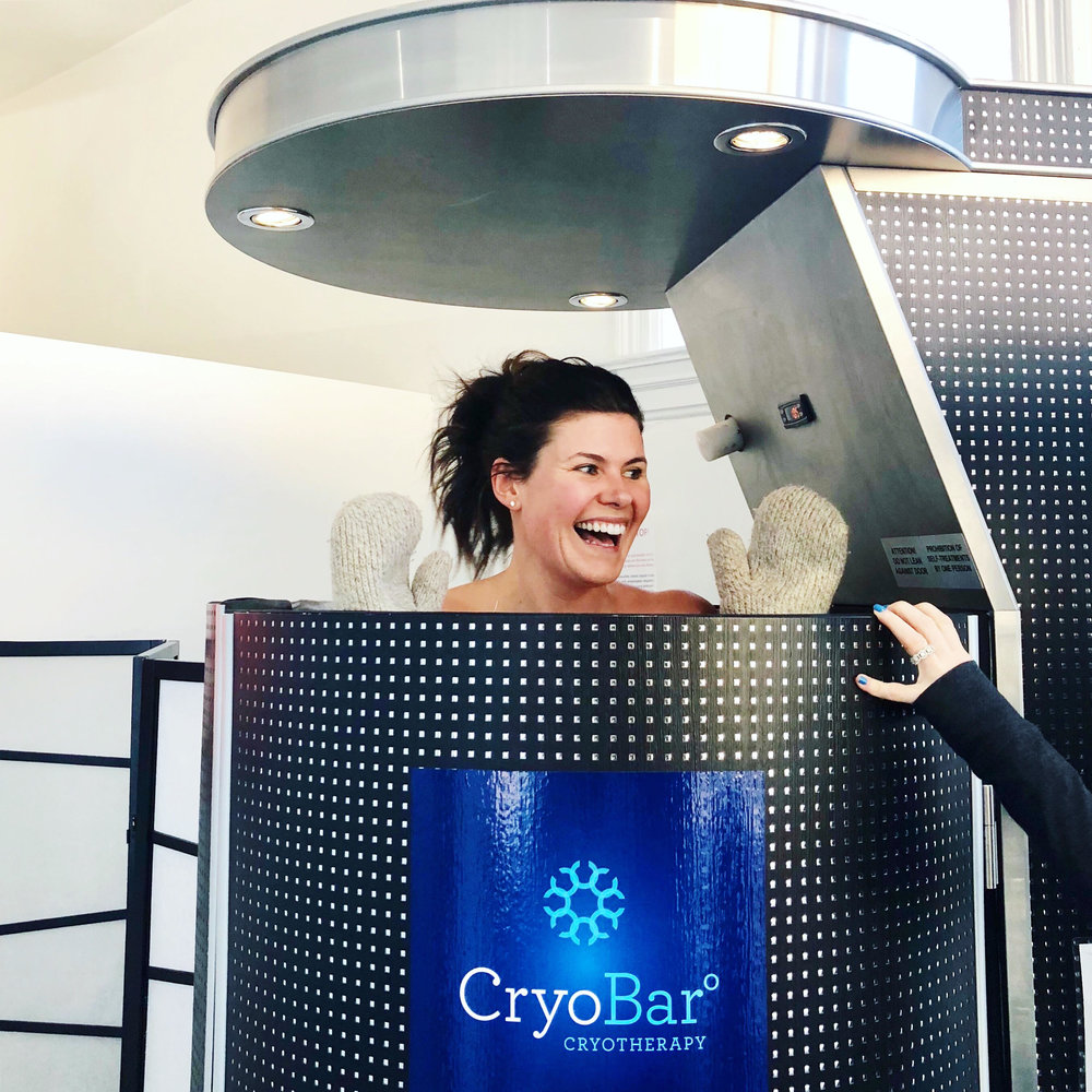 the cryobar  - have you tried cryotherapy!? i did my first session thecryobar today & even though i only lasted 1 minute + 15 seconds out of the 3 minute session in the coldest place on earth ❄️ i will be back for more! just some of the benefits = boosts metabolism, increases collagen production for tighter + younger looking skin, releases endorphins, reduces pain + promotes overall health 💙-xoxojackie