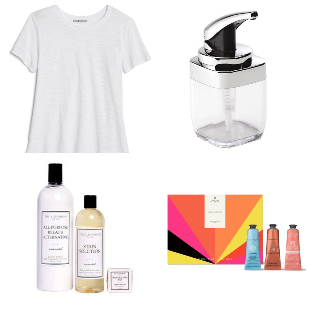 """under $50 christmas gift guide: - for the simply classic girl: peach """"bella tee"""" for $33.99for the one who washes your dishes: simple human square push pump $18for the one who washes your clothes: laundress bleach, stain remover & stain bar for $35for the fabulous: crabtree-evelyn hand therapy trio for $27"""