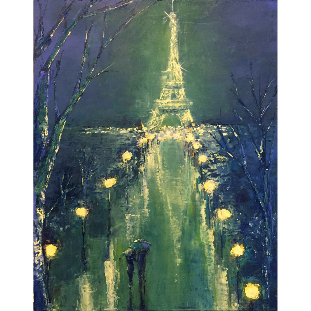 "City of Lights - 8""x10"" oil painting on cradled panel."