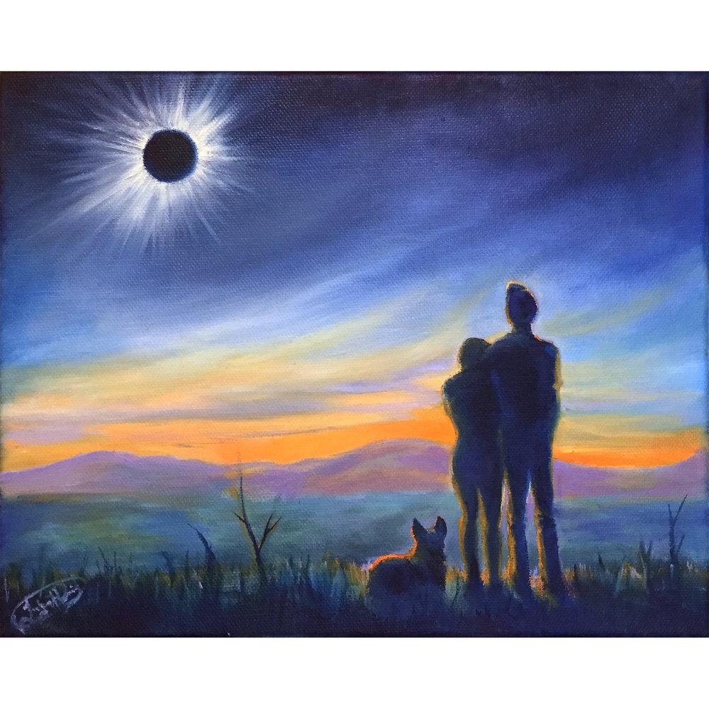 "Solar Eclipse 2017 - 8""x10"" oil on canvas."