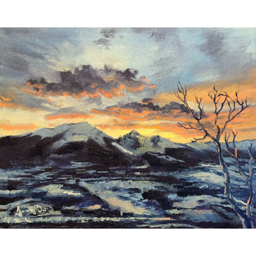 """Sunset over Silverthorne - 8""""x10"""" oil on canvas."""