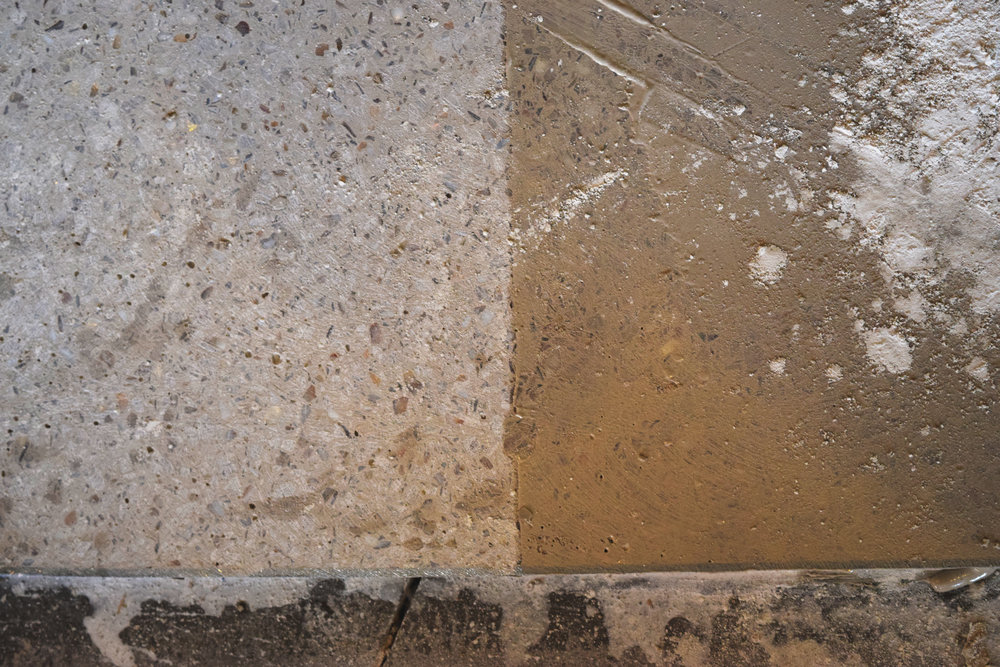 Pre-grout (left) versus post grout (right)