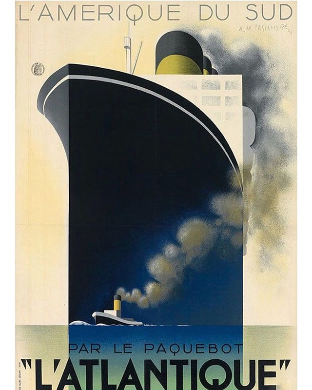 L'Atlantique, 1931 travel poster by Adolphe Mouron Cassandre who created over one hundred posters from 1925 to 1935. His stunning and radically bold imagery revolutionised poster production in his day and left a lasting mark on avant-garde graphic design  #travel #adolphemouroncassandre #vintagetravelposters #graphicdesign #1930sdesign #travelposters #cruise #southamerica #voyages #publicités