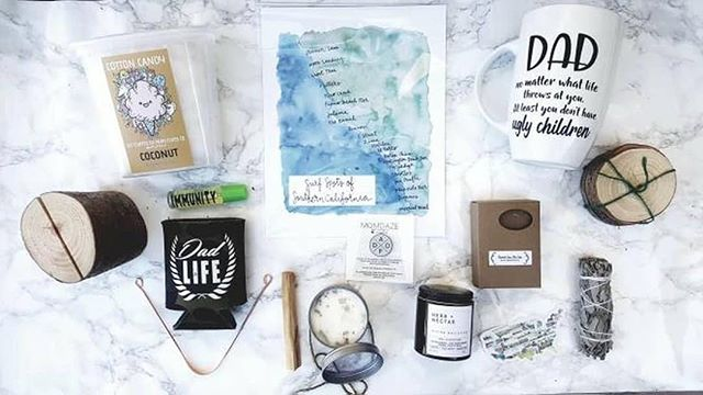 """Regardless of gender identity, we honor and celebrate all the Father figures in our lives with a sweet giveaway, featuring over a dozen handmade items from small shops all over the U.S. 🌿✨ ✨Like this photo ✨Must be following all brands below ✨Tag a friend! ⠀⠀⠀⠀⠀⠀⠀⠀⠀ Giveaway will run untilJune 11th.Winner will be announced onJune 11th@ 5 pm. ⠀⠀⠀⠀⠀⠀⠀⠀⠀ This giveaway is not endorsed, affiliated or sponsored by Instagram. ⠀⠀⠀⠀⠀⠀⠀⠀⠀ Gift box includes; ⠀⠀⠀⠀⠀⠀⠀⠀⠀ @shopselfboxinc - Sage smudging stick, tongue scraper, wood coasters & log photo holder.  @momdaze.co- """"Dad as F*ck"""" enamel Pin.  @wellness.wicks - Palo Santo & crystal infused soy candle.  @xennialdesigns - Dad mug.  @rachelalvarezart - Hand painted state sticker of your choice.  @happyhartco - Hand painted surf spots of southern California art print.  @chelsearosecreations - Oatmeal spice soap.  @herbandnectar - Divine masculine blend tea.  @riverbabethreads - Dad life Koozie.  @mamasavagery - Essential oil immunity roller blend.  @getfluffedup Organic hand spun cotton candy.  #giveaway #Fathersday #shopsmall #supportlocal #trending #sandiego #art #gifts #makersgonnamake #dadmug #naturalcandles #dadaf #dadlife #daddysgirl #handmadesoap #tea #koozie #smudgestick #palosanto #woodgifts #handmade #artisan #organiccottoncandy #thursdayvibes #follow #goodvibes #sage #essentialoil #aromatherapy #holistic"""