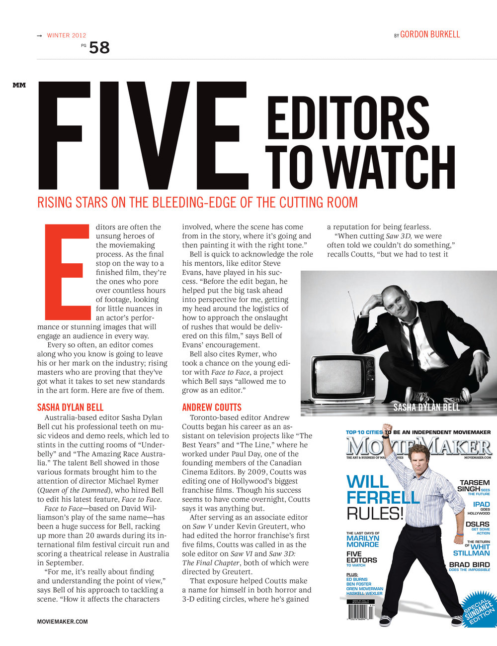 """FIVE EDITORS TO WATCH"" article, as featured in Moviemaker Magazine 2012"