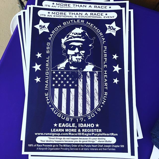 """""""MORE THAN A RACE"""". This is the SSG Aaron Butler Memorial Purple Heart Run. 🇺🇸🇺🇸🇺🇸 When: 17Aug2019 Where: Eagle, Idaho Who: a nonprofit organization providing services to all Idaho veterans and their families 🇺🇸🇺🇸🇺🇸 want to know more? how you can support or register for the event? check out the website below.  www.runsignup.com/Race/ID/Eagle/PurpleHeartRun 🇺🇸🇺🇸🇺🇸 #mission43 #purpleheart #purpleheartrun #idaho #run #running #traillrun #trail"""