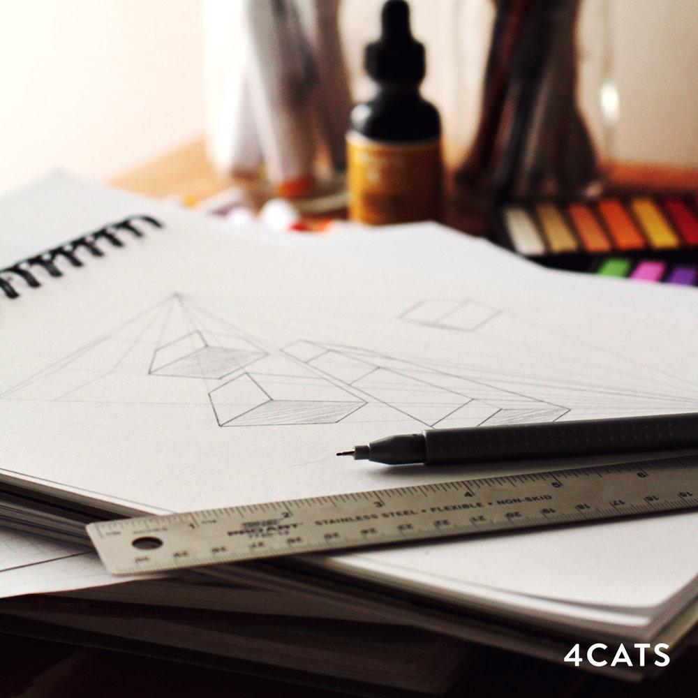 NOVEMBRE—PERSPECTIVE - - Techniques de crayon- Dessins de perspective de 1 & 2 points- Ingénierie de papier