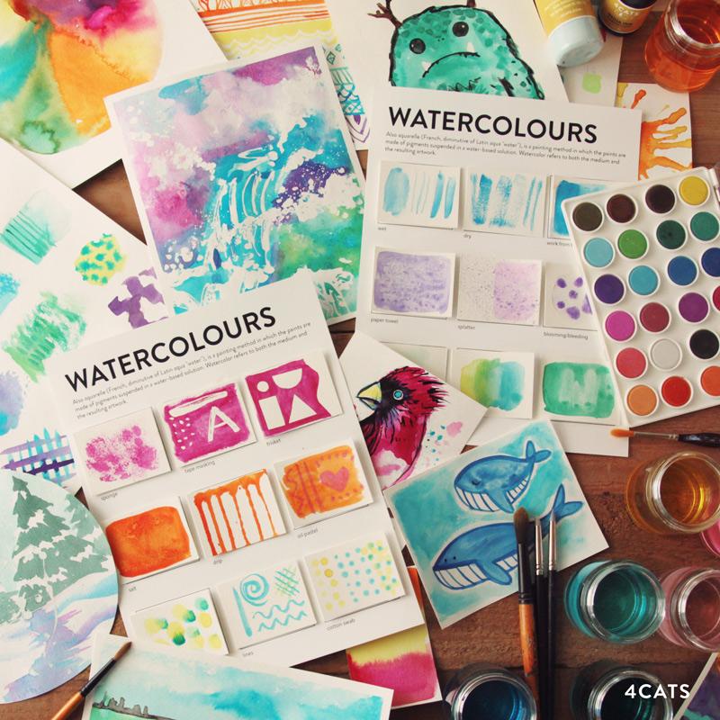 OCTOBRE: AQUARELLE & ENCRE - - outils d'aquarelles | détails pinceaux fins, peinture en gateau et encres, frisket, pinceaux en silicone et vaporisateur- techniques d'aquarelles | masquer, pinceau sec, technique mouillée, égoutter, peinture gestuelle, couches, lever et épanouissement
