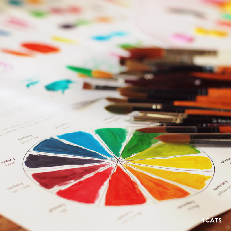 SEPTEMBRE: OUTILS ET THÉORIE DES COULEUR - Apprenez-en plus sur l'anatomie du pinceau. Expérimentez avec différents types de pinceaux (détail, rond, plat et éventail) et différentes techniques tel que le pinceau sec, le pointillé, le lancé.Théorie des couleurs | la roue, l'harmonie, les tintes, les tons et les nuances