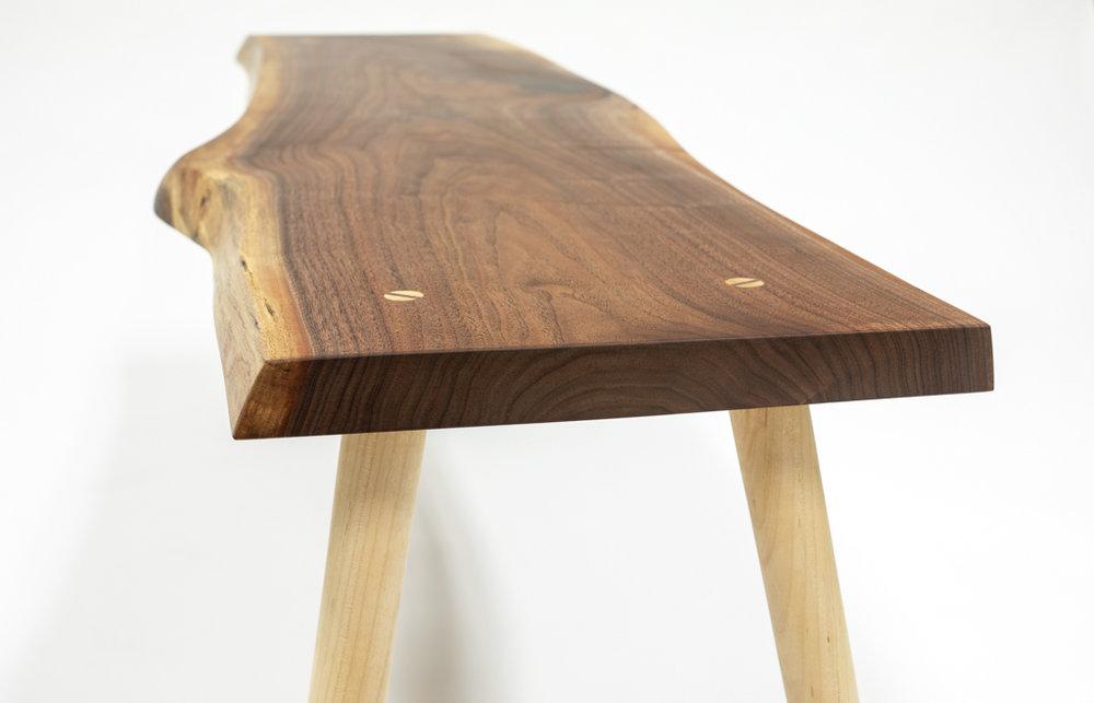 Walnut bench end detail