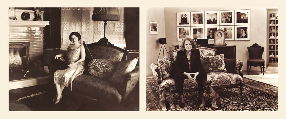 My grandmother, Dear, in her living room in Monroe, LA, c. 1930. Me on the same couch in Santa Fe, NM, 1998.