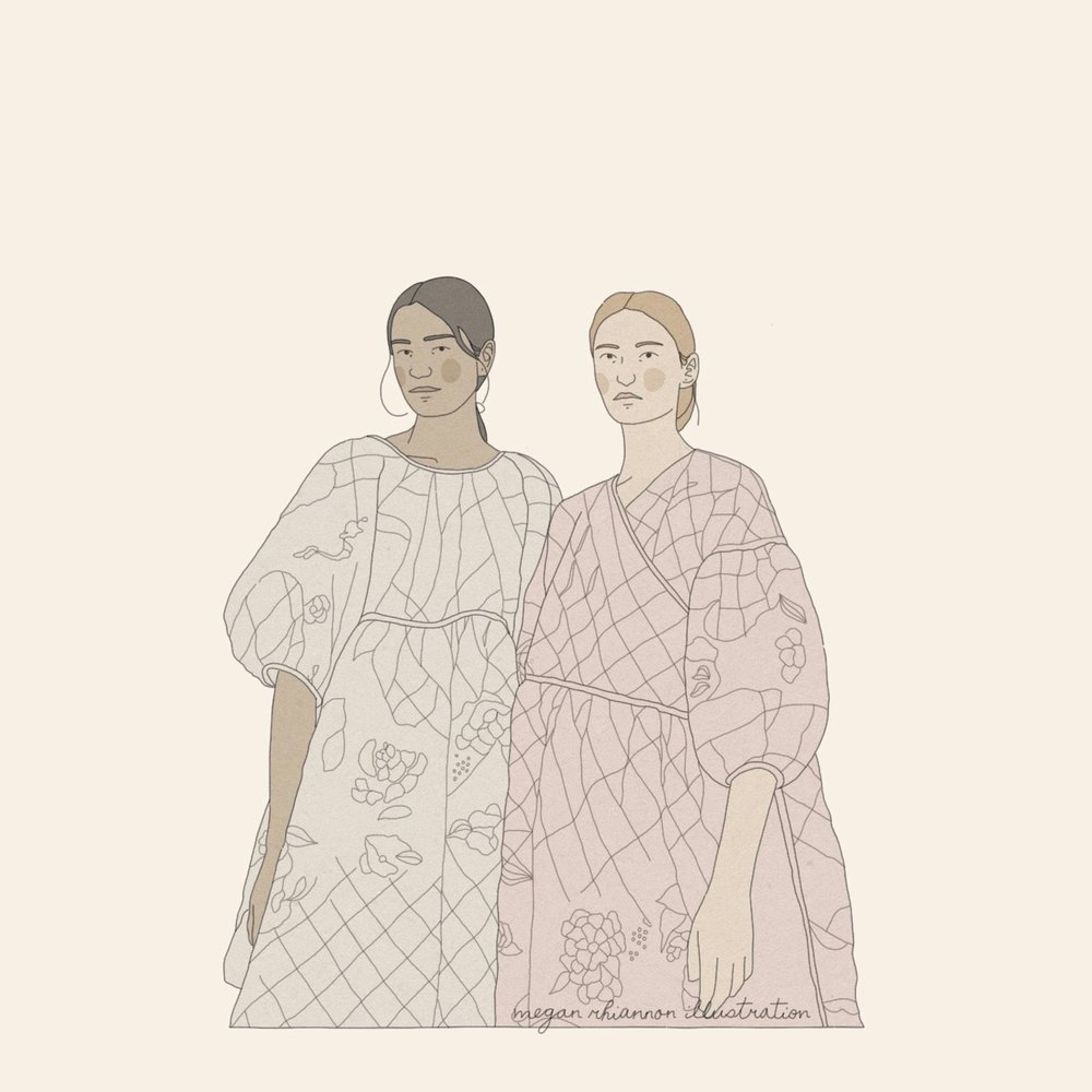 A drawing based on a photograph from Cecilie Bahnsen's SS18 collection.