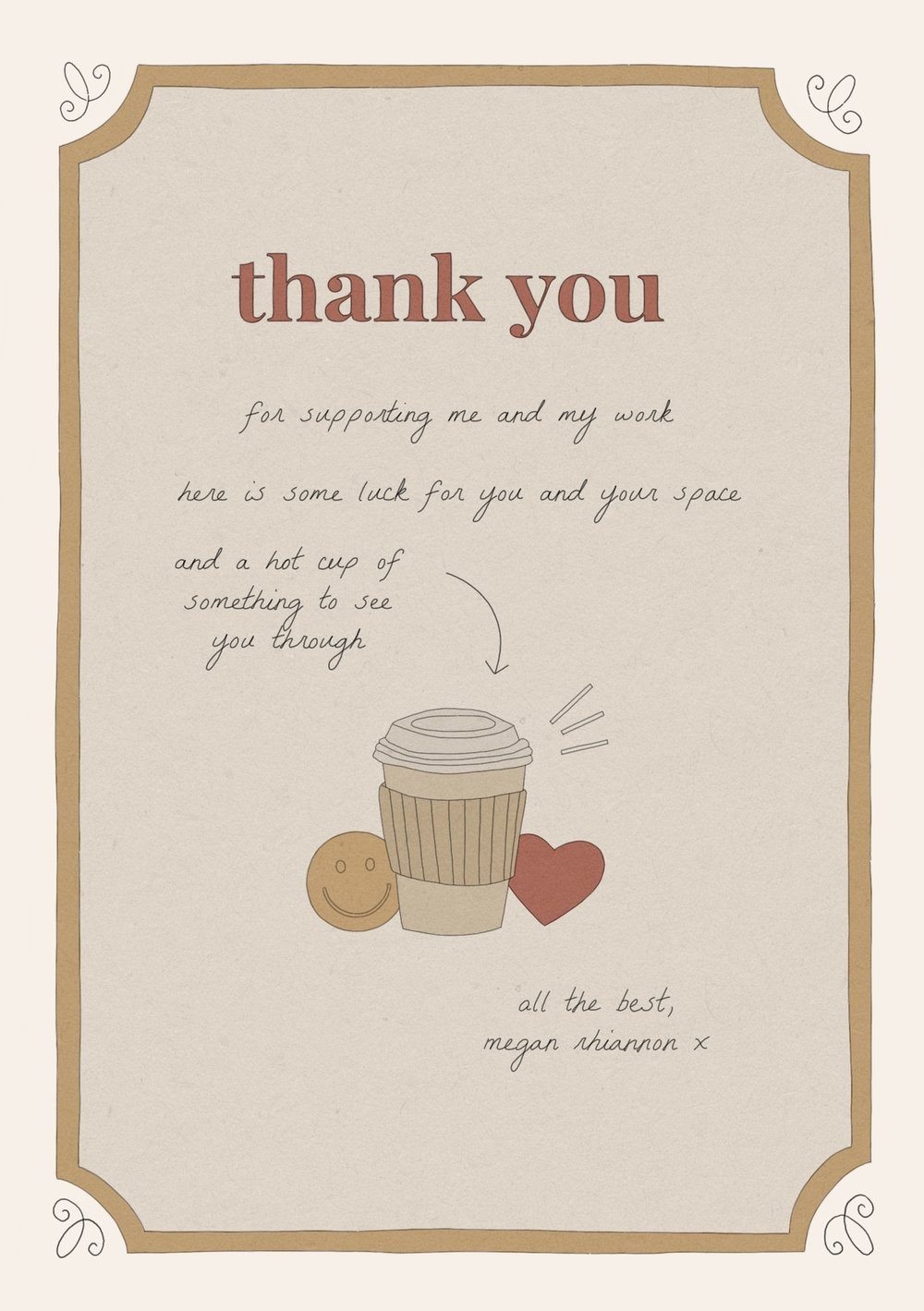 Thank You Card - August 2018: a thank-you card design to give away free with my shop orders (reverse).