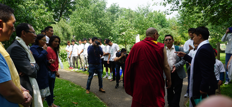 His Holiness is welcomed to the Tibetan Peace Garden for the consecration and blessing