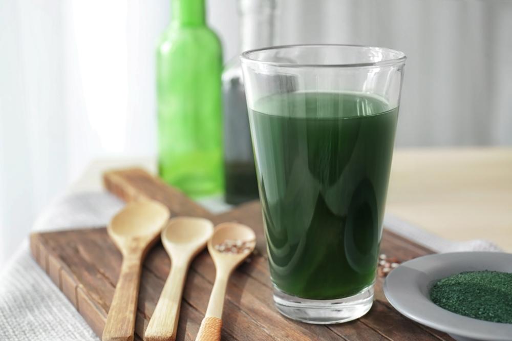 Glass of spirulina drink