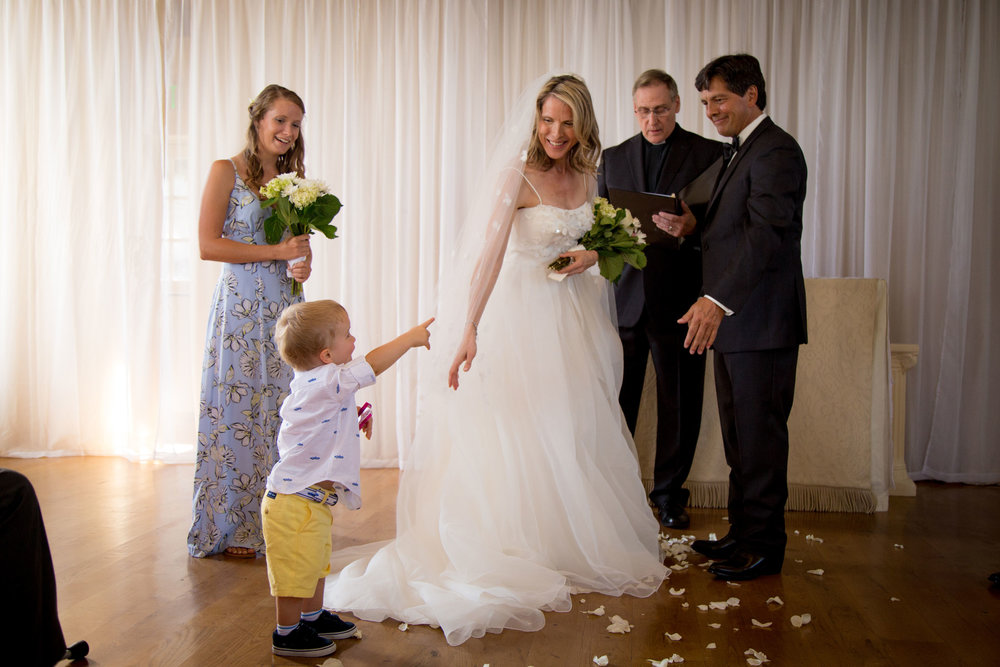 Oops, busted by the ring bearer.