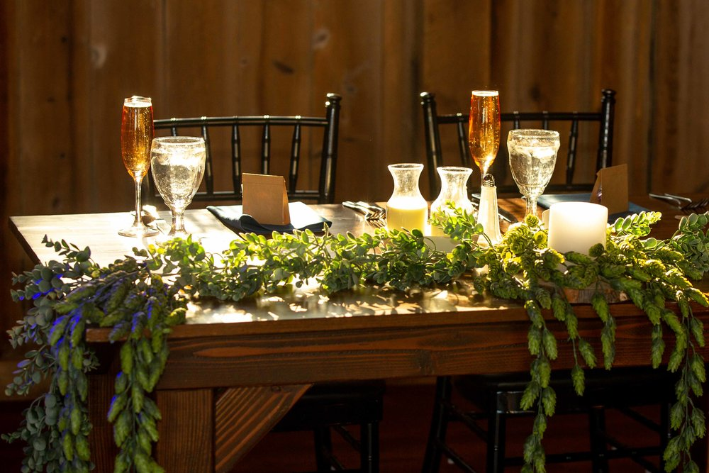 Cara & Steve reception setting