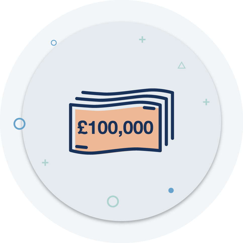 If the worst happens you have up to £100,000 in cover to back you up -