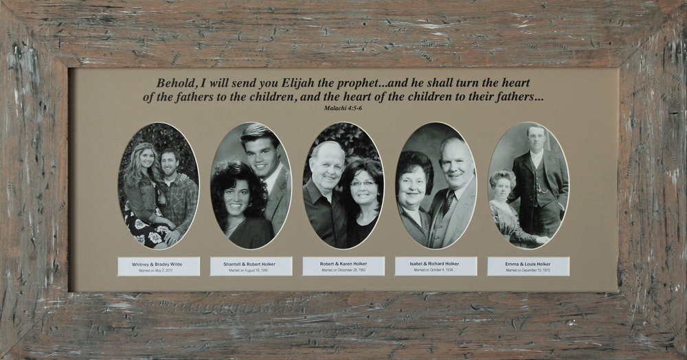 "The ""Generations A"" photo mat has the scripture from Malachi in the Old Testament about turning the hearts of the children to their fathers. This mat comes with 5, 6 or 7 photo cut outs and it is ideal for a maternal or paternal ancestral line; or any line of ancestors that you can find photos for. -"