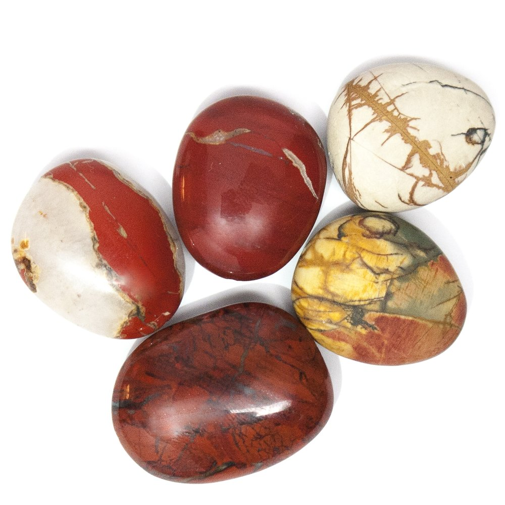 "J A S P E R - Jasper is part of the Chalcedony family and, like Agate, has many colors, patterns, and forms. We use Red Jasper (a rusty stone with black or white veins) and a variation we like to call Picasso Jasper as its coloring is reminiscent of Pablo Picasso's cubist palette.  In Native American culture, Jasper is traditionally used for rain making. Also known as the ""Supreme Nurturer"", Jasper is a grounding stone which promotes stability and awareness.  Jasper is mined in the U.S. out West in Wyoming, Montana, and Utah."