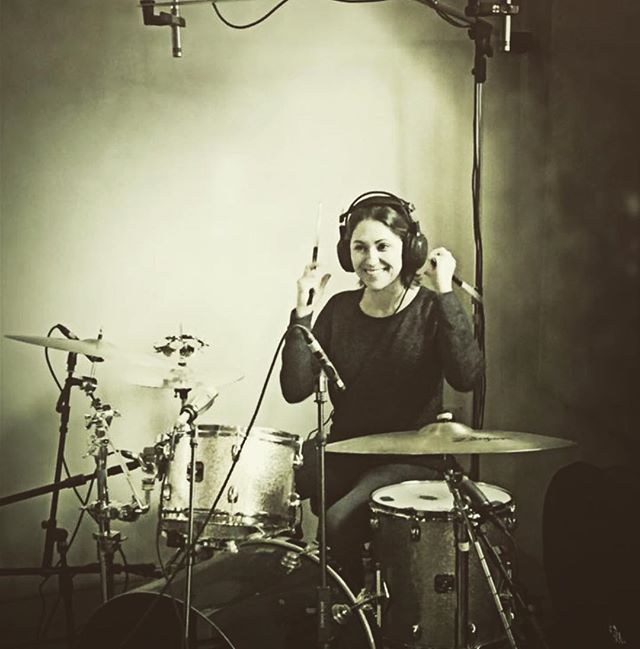 At the recording studio! 😃🥁 #keyparty #femaledrummer #recording #recordingstudio