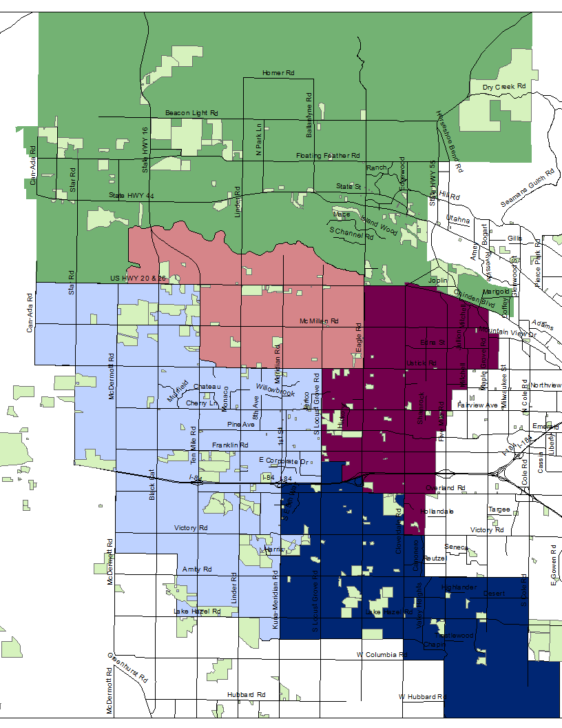 14,582 approved residential homes will generate an estimated 11,665 new students  (shown in light green)   High School Areas:  Eagle ( green),  Rocky Mountain (s almon) , Meridian ( light blue) , Mountain View ( dark blue) , Centennial  (burgundy)