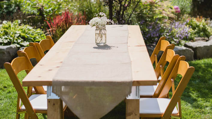Trestle Tables - Service Type: RentalSize: 2 feet x 8 feet / 2 feet x 9 feetCapacity: Seats up to 8 peopleMaterial: Wood / Metal