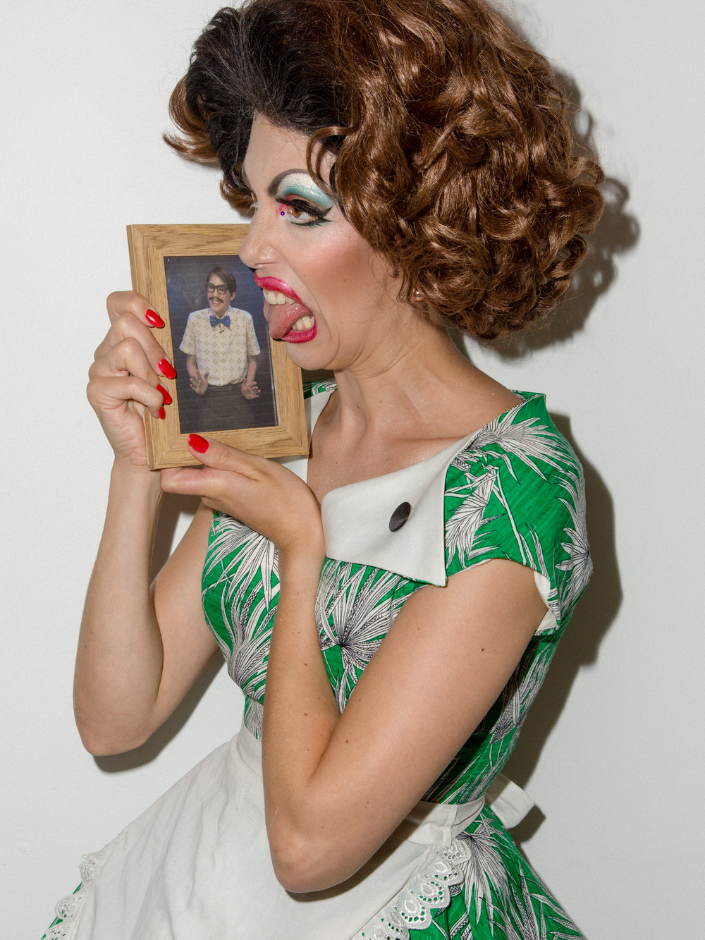 Penny Royalty (with photo of Gary Krumbert taken by Brian Lowe). Photo by James Yang with MUA by Yolanda Bartram.