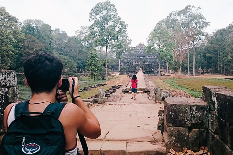A cellphone shot of rocking the bag while taking a photo in Angkor Wat, Cambodia. 2015.