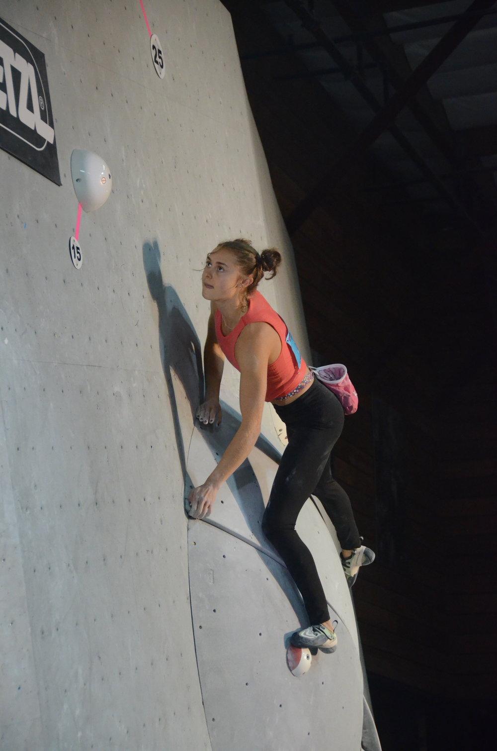 Margo Hayes - Taking it slow on the infamous Mesa Rim Academy slab.