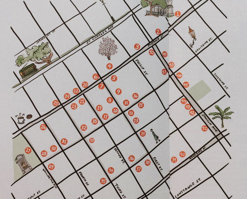 WALKING TOUR - Purchase our very own 'Walk the Garden District' printed guide! We've picked the best routes, stops, and pieces of history in this pocket-size version of our tour. Take it on the geaux, with friends, or solo!