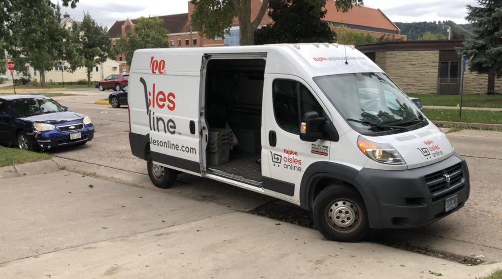 Step 5:Wait For Delivery - Your friendly Hy-Vee driver will arrive in the hour window that you set during checkout. They will give you a call when they arrive to your house/apartment/dorm. They can help bring the groceries in or if you would like to take them yourself that works too.