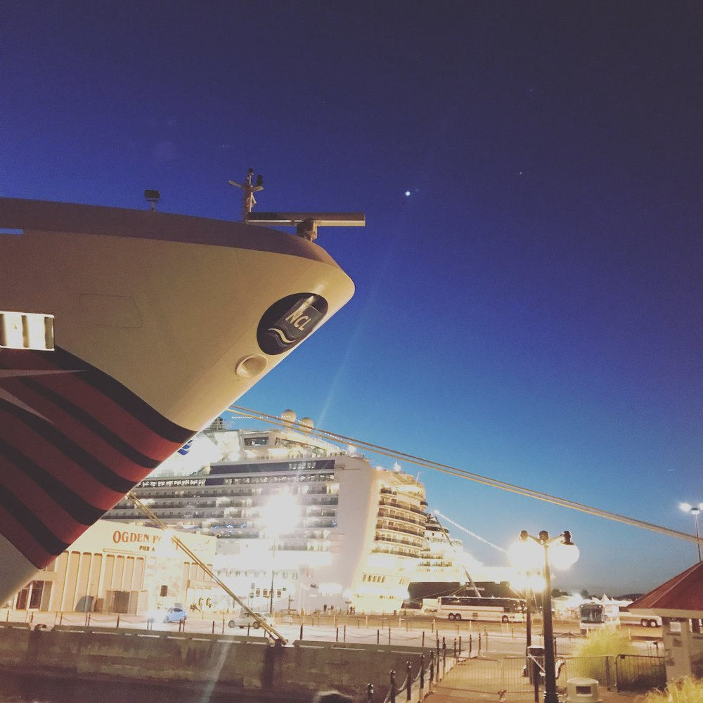 Cruise ships docked at Ogden Point, Victoria BC.