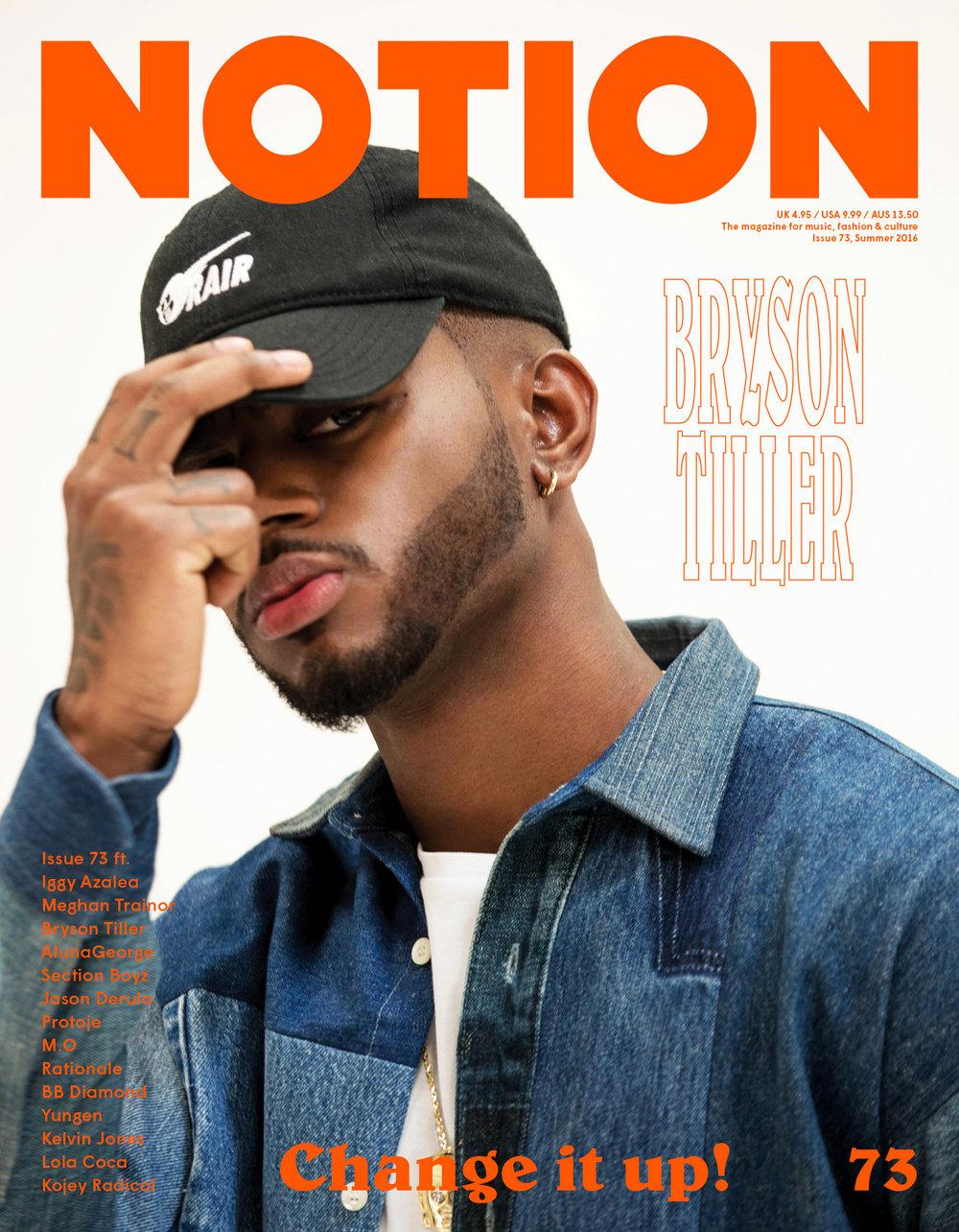 BRYSON TILLER FOR NOTION MAGAZINE COVER
