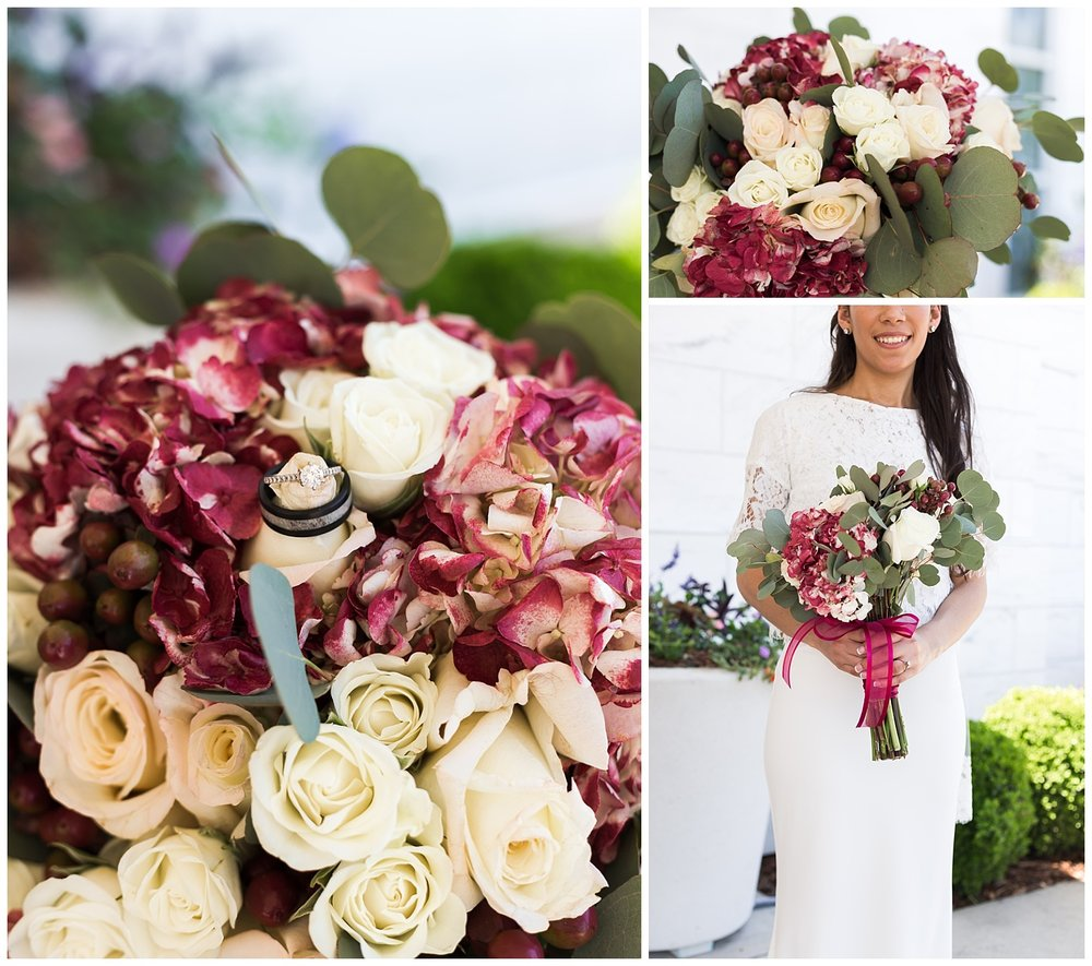 red and mint eucalyptus wedding bouquet lbeesley photo