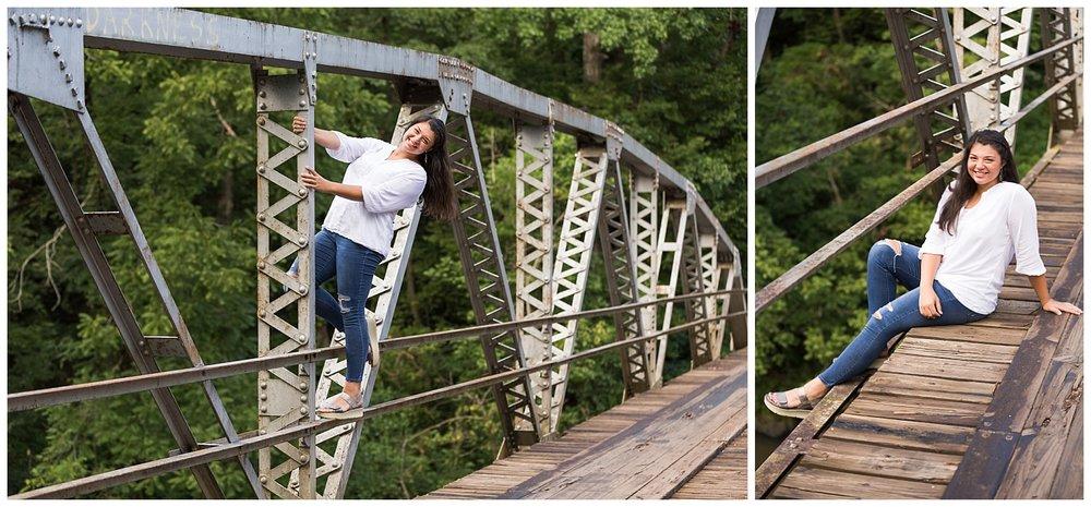 auburn opelika alabama senior pictures on an old bridge