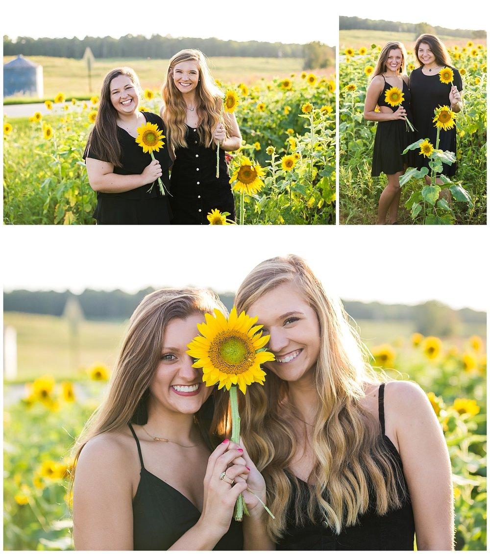 senior portraits sunflower group best friend photo shoot lbeesleyphoto