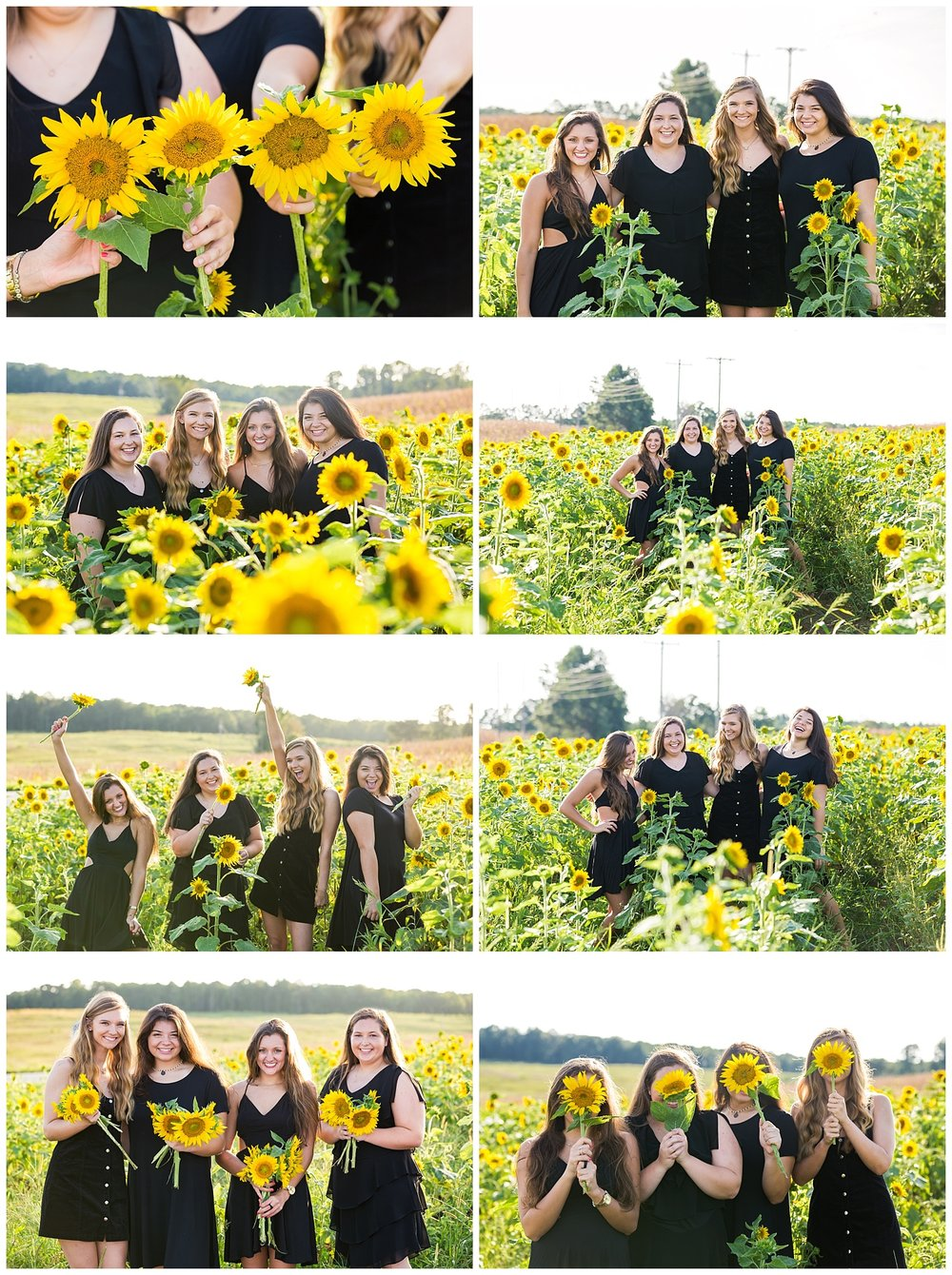 group photo shoot best friends sunflower session lbeesleyphoto