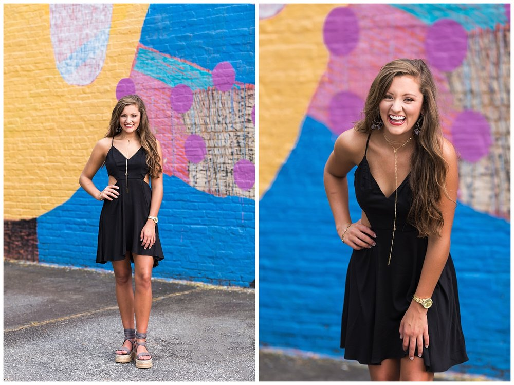 uptown columbus senior portraits mural lauren beesley photography