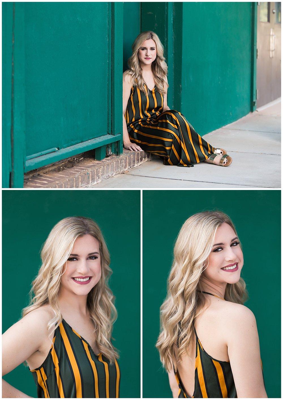 green background senior portraits head shot lauren beesley photography stripe maxi dress