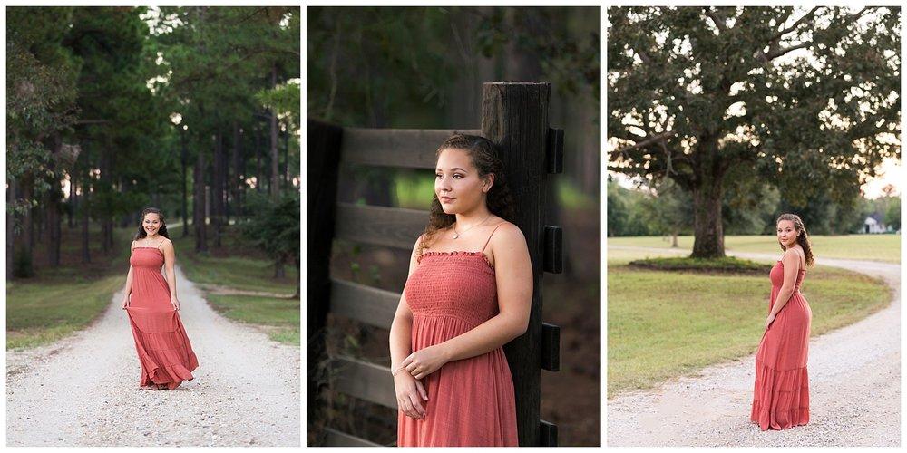 auburn oaks farm senior portraits pink maxi dress auburn alabama