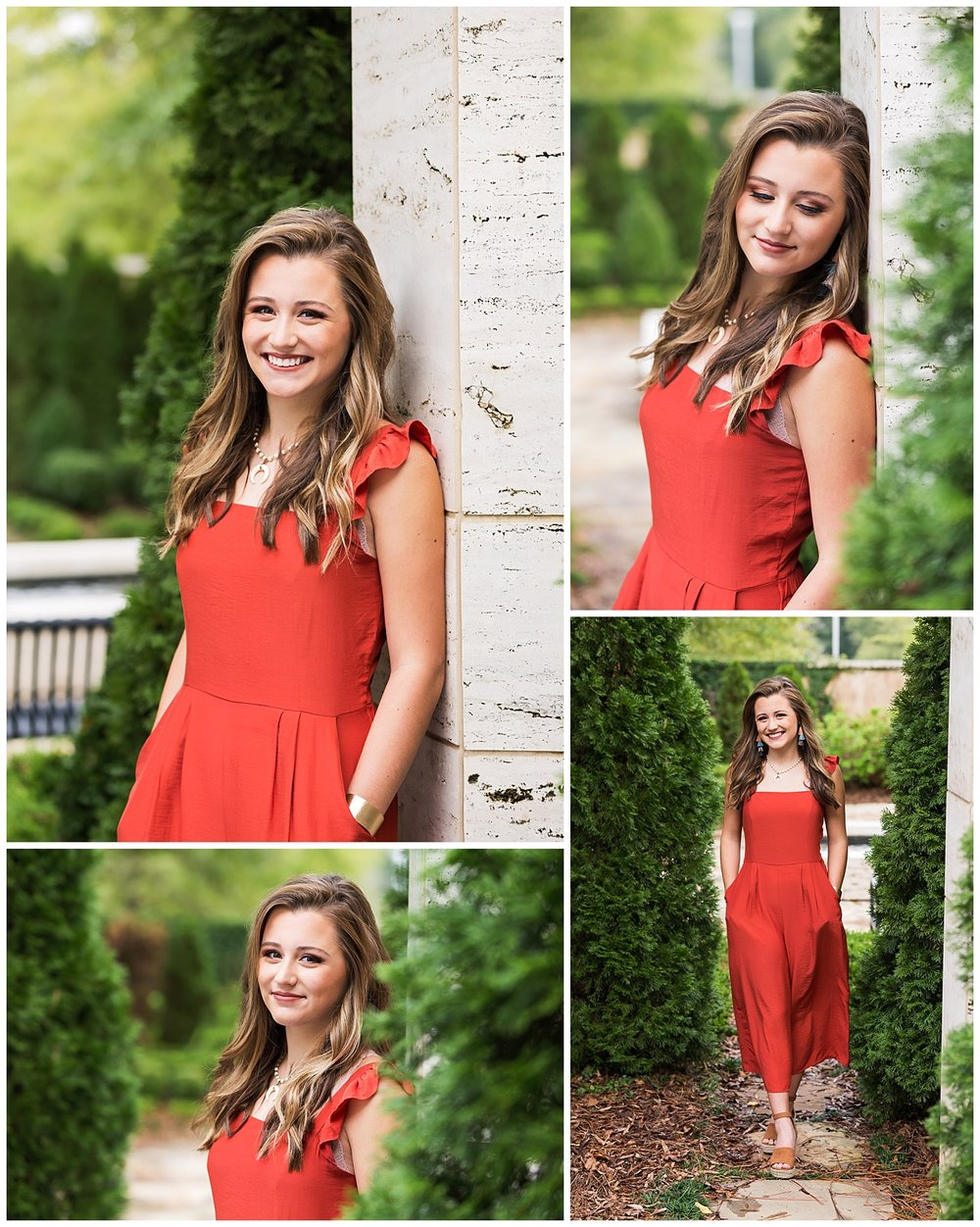 orange jumpsuit senior portraits garden auburn alabama lbeesleyphoto