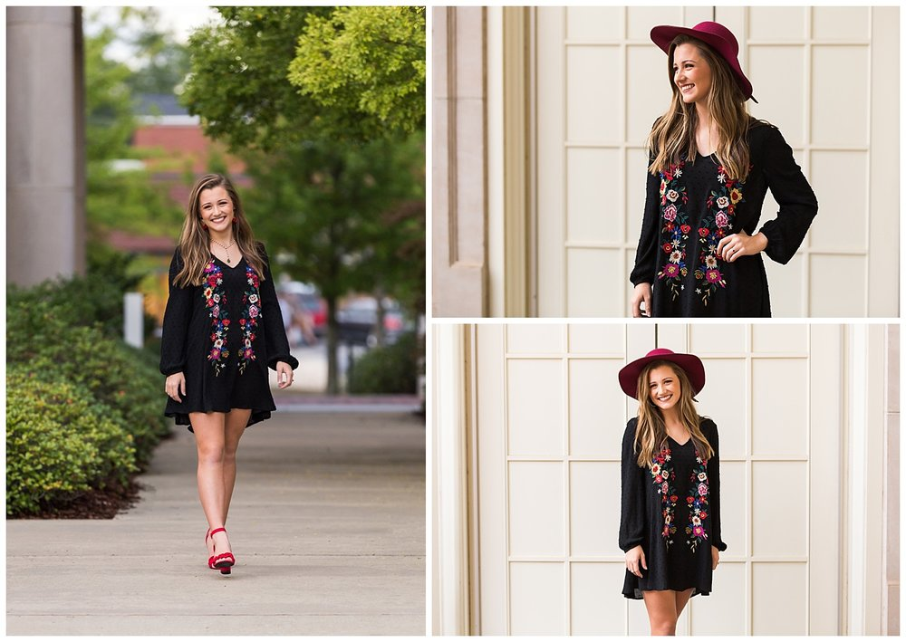 black floral embroidered dress red hat auburn alabama senior pictures lbeesleyphoto