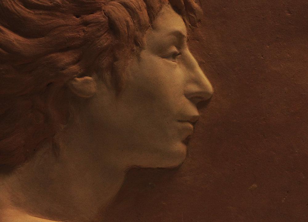 Terracotta portrait relief.    w.220mm.  h.185mm.