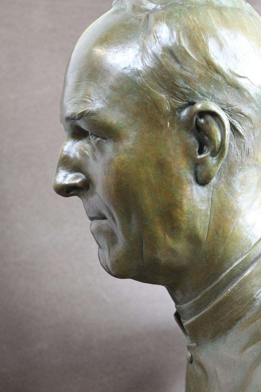 Memorial bust, bronze.