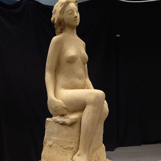 Student work. Small figure in terracotta. Unfired. #melbournesculpture #sculptor