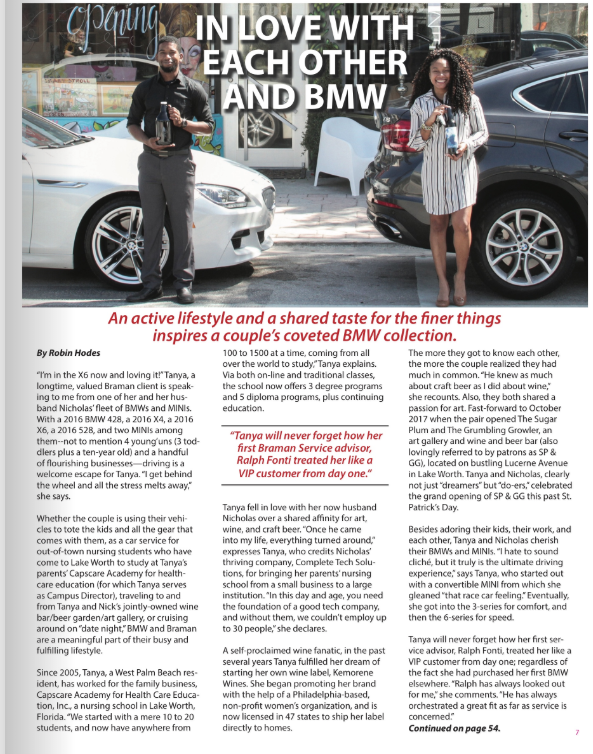 Club Braman Article  - Owners, Nicholas Phillp-Yalley and Tanya Hacker are featured in the Club Braman BMW magazine.