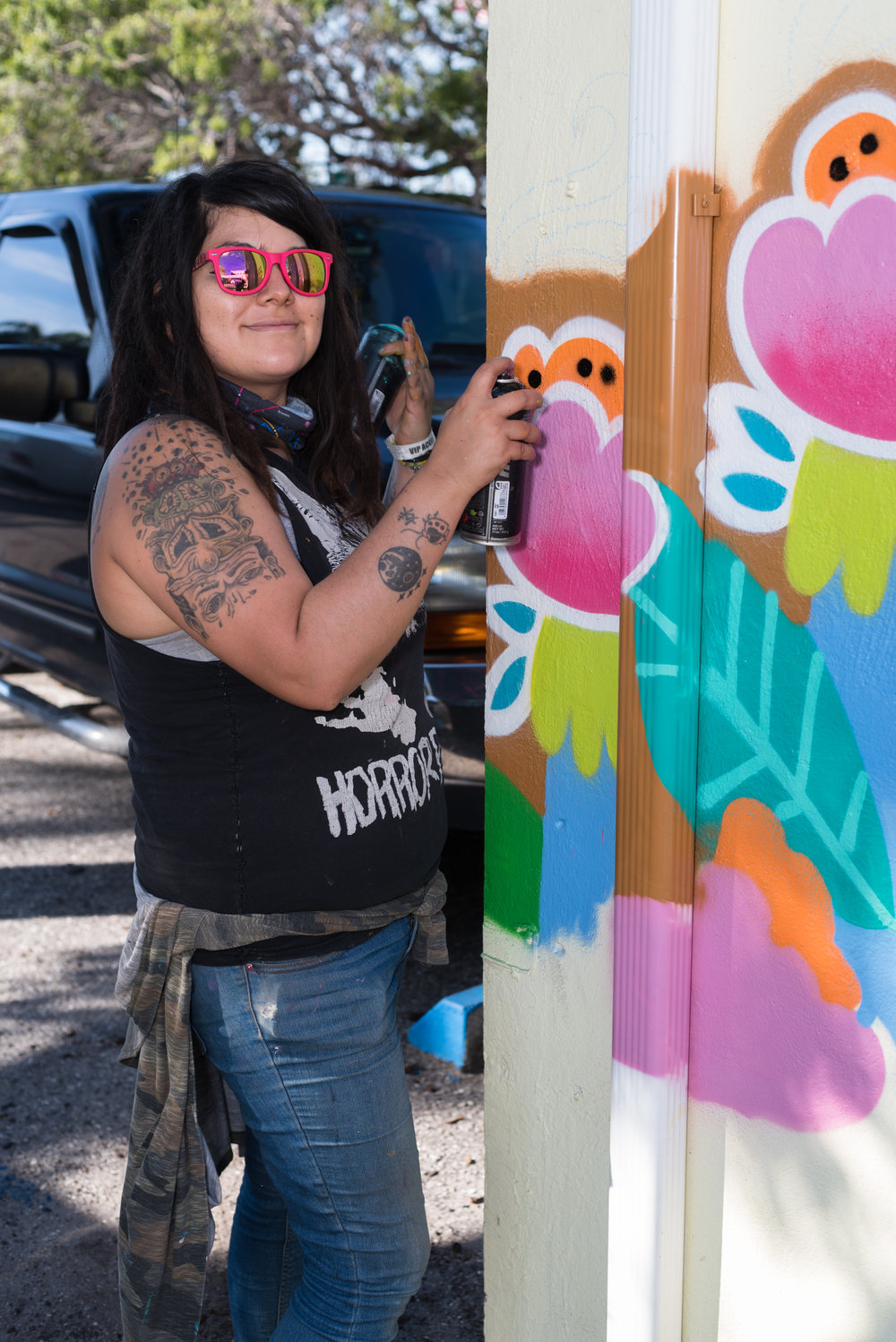 Global Muralist - Ms.Yellow (real name Nuria Ortiz) is an international muralist, artist, craftswoman and jewelry maker. Born in Long Beach, Ca of Mexican descent, she has dedicated her life to the creative development and empowerment of community and youth through direct engagement. Her goal has been to utilize her knowledge and help bring people together in using art as a therapeutic release. She has worked closely with schools, community centers, boys and girls clubs etc to develop workshops and mentorship to the youth. As a muralist Ms.Yellow has worked with communities to bring colorful murals with dreamy color schemes and endless detail to the masses. Her works center on themes such as culture, sisterhood, education, unity, love and social justice. Her artwork and murals have been on display in museums, galleries, and streets around the world such as Spain, France, Mexico and Egypt.